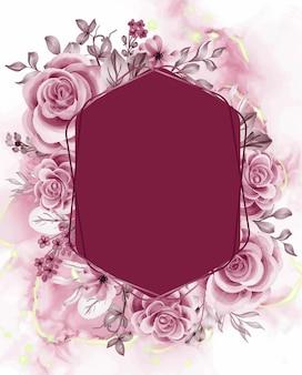 Aquarellhintergrund roségoldene blumen und blätter mit liniengold