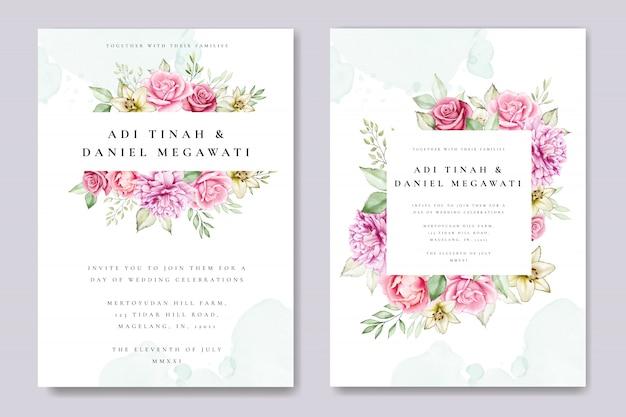 Aquarellhochzeits-einladungskarte mit schöner blumen- und blattschablone