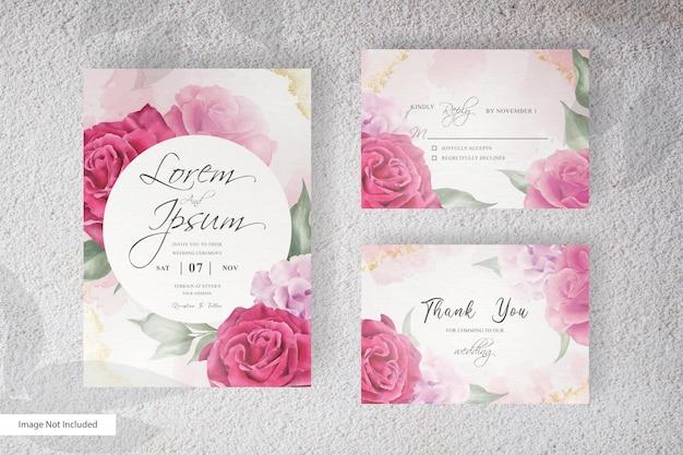 Aquarellhochzeitsbriefpapier-setkarte mit handzeichnungsblume und -blättern