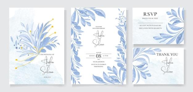Aquarellhochzeitseinladungskartenschablone gesetzt mit schönen blättern rahmen und randdekoration botanisch