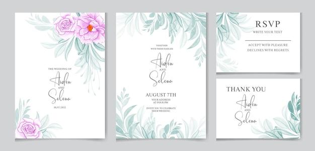 Aquarellhochzeitseinladungskartenschablone gesetzt mit weicher blauer rose mit blättern