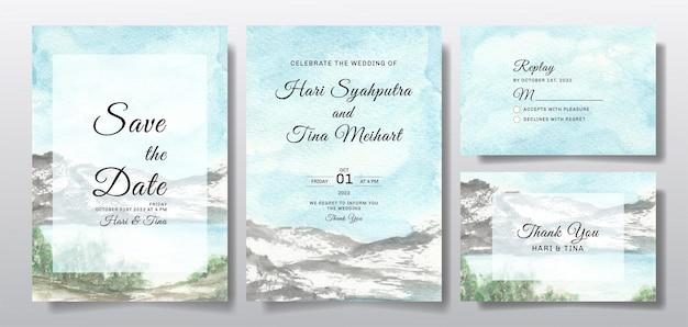 Aquarellhochzeitseinladungssatz mit himmel- und hügellandschaft