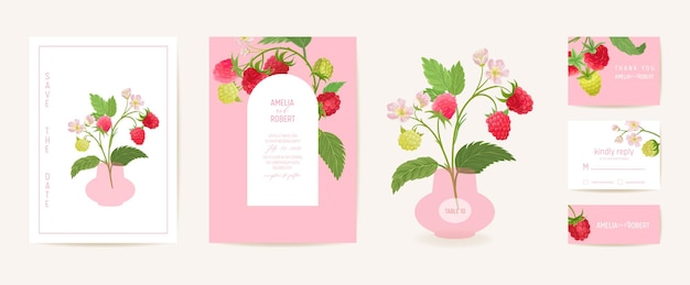 Aquarellhochzeitshimbeerblumeneinladung. beerenfrüchte, blumen, blätterkarte. botanischer save the date-vorlagenvektor, sommerabdeckung, modernes poster, trendiges design, luxushintergrund