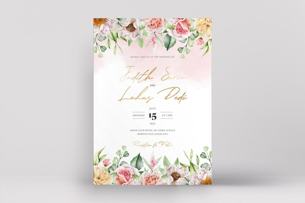 Aquarellhochzeitskarte mit eleganten rosen und pfingstrosen