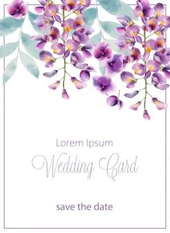 Aquarellhochzeitskarte mit lila blumen und blättern. platz für text