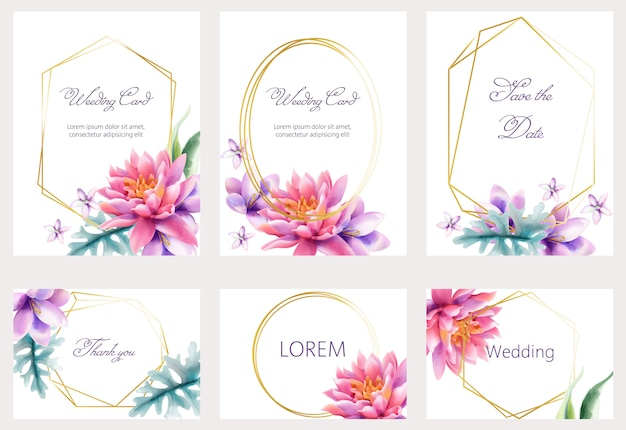 Aquarellhochzeitskarten, die mit lotus- und lilienblumen gesetzt werden