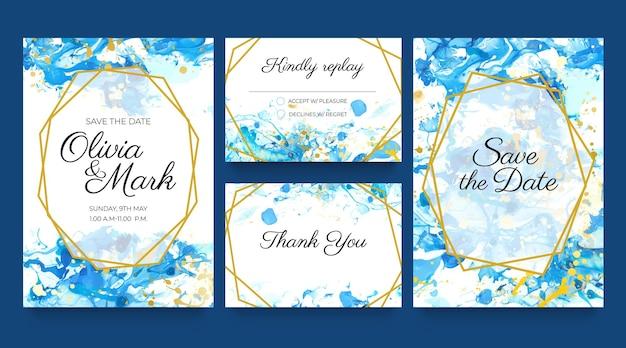 Aquarellhochzeitskarten einladen. blaue und goldene einladungsvorlagen mit flüssigen farbspritzern und golden. speichern sie den datumsvektorsatz. design der hochzeit, elegante illustration des aquarellhintergrundes