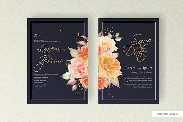 Aquarellhochzeitskartenschablone gesetzt mit blumen- und blattdekorationsblumenillustration