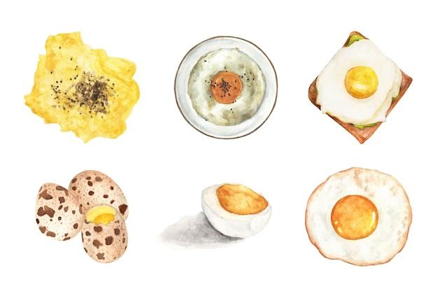 Aquarellillustration des leckeren morgenfrühstückssatzes, der von eiern gemacht wird.