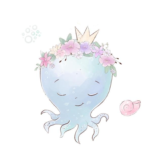 Aquarellillustration des niedlichen karikaturkraken mit zarten blumen