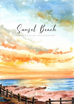 Aquarellillustration des sonnenuntergangs am strand