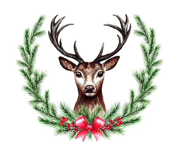 Aquarellillustration des weihnachtskranzes mit hirsch. frohe weihnachten und ein glückliches neues jahr.