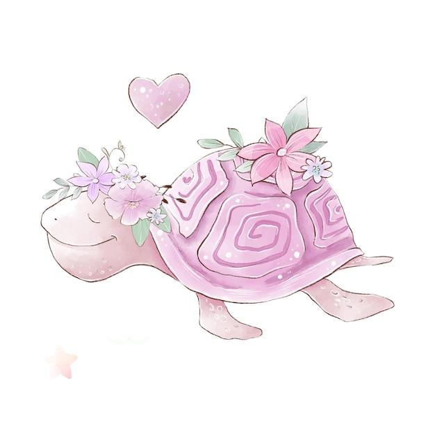 Aquarellillustration einer niedlichen karikatur-meeresschildkröte mit zarten blumen