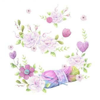 Aquarellillustration eines kranzes eines blumenstraußes der wilden rosen der hellrosa farbe und des zubehörs für strickende näharbeit