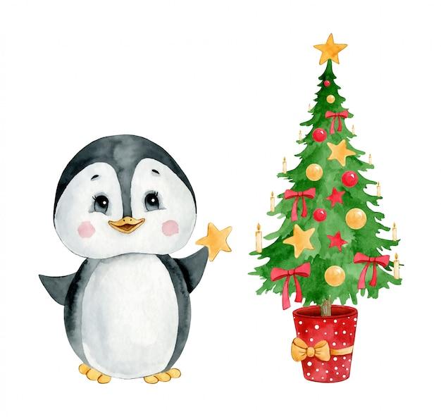 Aquarellillustration eines niedlichen karikaturpinguins mit einem weihnachtsbaum lokalisiert.