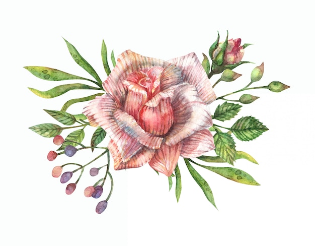 Aquarellillustration eines straußes von rosa rosen, knospen, blättern, zweigen und anderen feldkräutern.