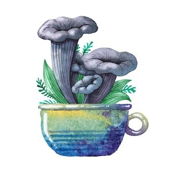 Aquarellillustration. essbarer pilz.