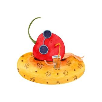 Aquarellillustration für kinder mit einer kirsche, die einen cocktail auf einem aufblasbaren kreis trinkt