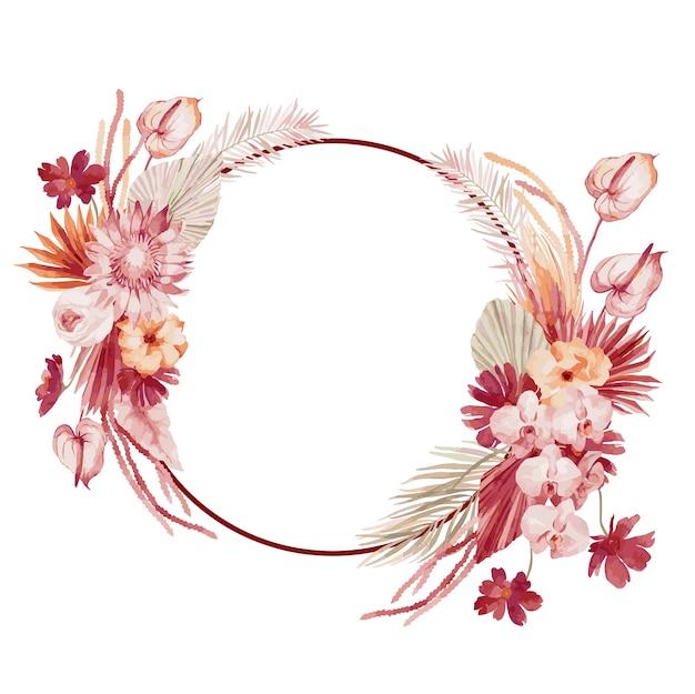 Aquarellillustration, herbstkranz im böhmischen stil mit burgunderfarbenen palmblättern, orchidee, protea, gelber aster und anthurium