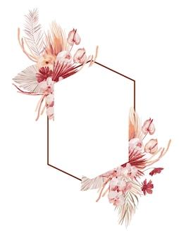Aquarellillustration, herbstrahmen im böhmischen stil mit burgunderfarbenen palmblättern, orchidee, protea, gelber aster und anthurium