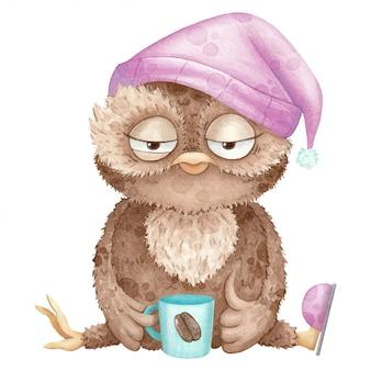 Aquarellillustration mit eule in der kappe und mit kaffee
