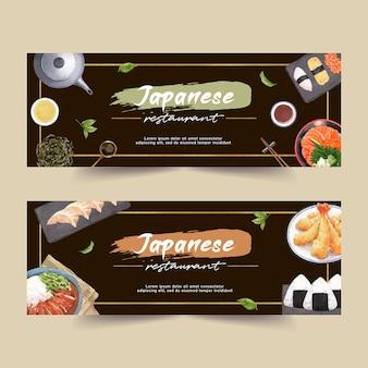 Aquarellillustration mit kreativem sushi-themenorientiertem für fahnen, anzeige und broschüre.