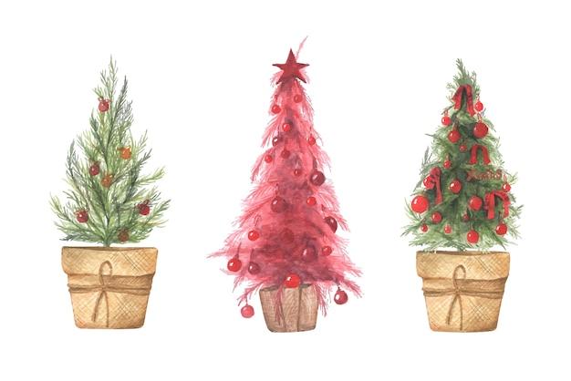 Aquarellillustrationssatz von weihnachtsbäumen in töpfen.