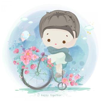 Aquarelljunge auf einem fahrrad mit blumen