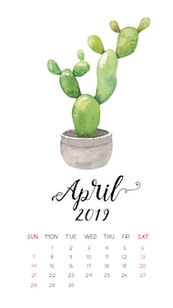 Aquarellkaktus-kalender für april 2019.