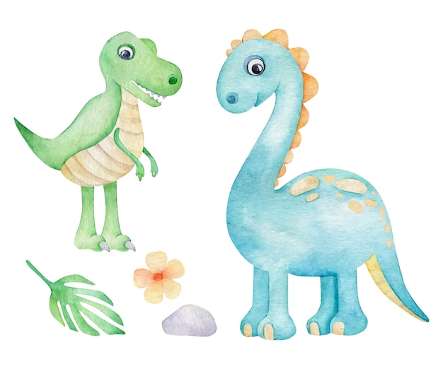 Aquarellkarikaturdinosaurier lokalisiert auf weiß