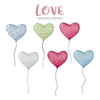 Aquarellkarte mit fliegenden luftballons in form von herzen und verschiedenen texturen, valentinsgrußkonzeptelement reizende romantische rotrosa herzen für dekoration, illustration.