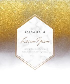 Aquarellkarte mit goldenem glitzer und grauer alkoholtinte mit marmorrahmen