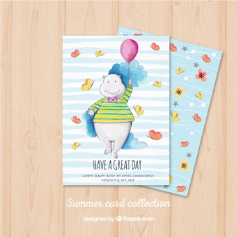 Aquarellkarte mit hippopotamus und globus