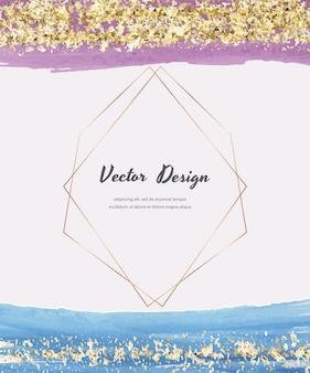 Aquarellkarten mit goldglitterstruktur, konfetti und geometrischen polygonalen linienrahmen. modernes abstraktes cover-design.
