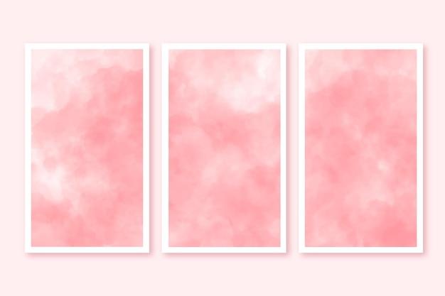 Aquarellkarten mit wolken gesetzt