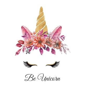 Aquarellkopf des einhorns mit blumenkranzblumenrotherbstfall