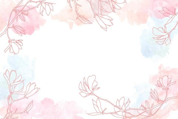 Aquarellkopienraumhintergrund mit gezeichneten elementen der blumenhand