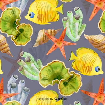 Aquarellkorallen- und -tierhintergrund