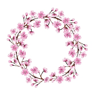 Aquarellkranz mit rosa sakura, die für einen besonderen anlass blüht