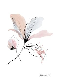 Aquarellkunsteinladungskarte der blume verziert mit rosafarbenen goldtropfen. botanisches aquarell handgemalt auf weißem hintergrund. perfekt für grußkarten oder wandkunst. pinsel in datei enthalten