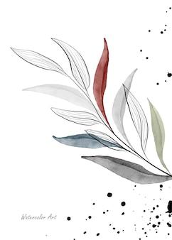 Aquarellkunstnatureinladungskarte mit schwankenden blättern verzweigt sich auf gespritzter tinte. botanisches aquarell der kunst handgemalt lokalisiert auf weißem hintergrund. pinsel in datei enthalten.