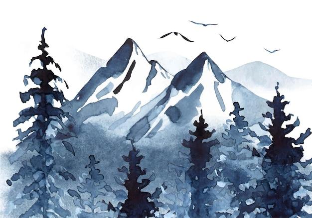 Aquarelllandschaft in den blauen farben mit gebirgskiefern und nebel