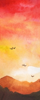 Aquarelllandschaft mit bergvögeln, die in den sonnenuntergang fliegen