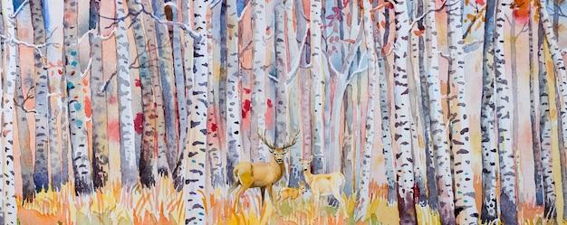 Aquarellmalerei bunte herbstbäume. halb abstraktes bild des waldes, espenbäume mit hirschfamilie, rotes blatt. herbst, herbstsaison natur hintergrund. handgemalter impressionist, landschaft im freien