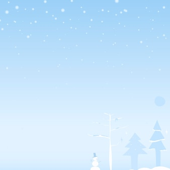 Aquarellmalerei einer schneeszene mit weihnachtsbaum und schneemann, copyspace