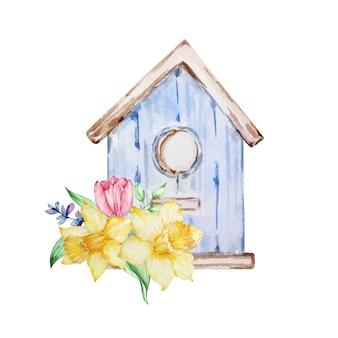 Aquarellmalerei frühlingsblumen, blaues vogelhaus mit tulpen, narzissen. blumenarrangement für grußkarten, einladungen, poster, hochzeitsdekorationen und andere bilder.