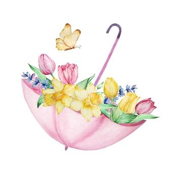 Aquarellmalerei frühlingsblumen, rosa offener regenschirm mit tulpen, narzissen und einem schmetterling.