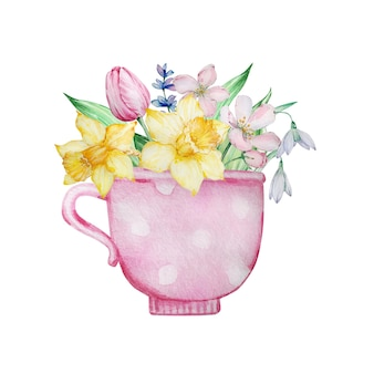 Aquarellmalerei frühlingsblumen, rosa tasse mit tulpen, narzissen und schneeglöckchen.