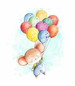 Aquarellmaus, die mit luftballons fliegt