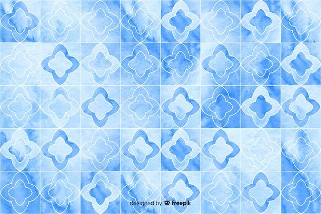 Aquarellmosaikhintergrund in den blauen schatten